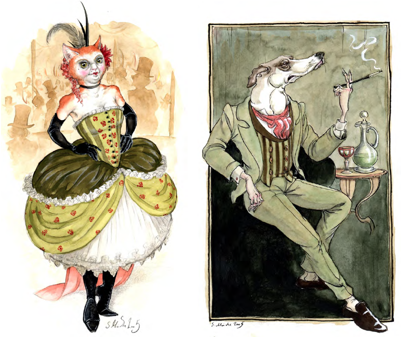 Left: Can Can Cat, Right: Dandy by Luisa Kelle