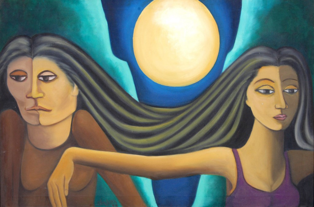 Two women, by Shakira Masood. Courtesy: ArtChowk Gallery