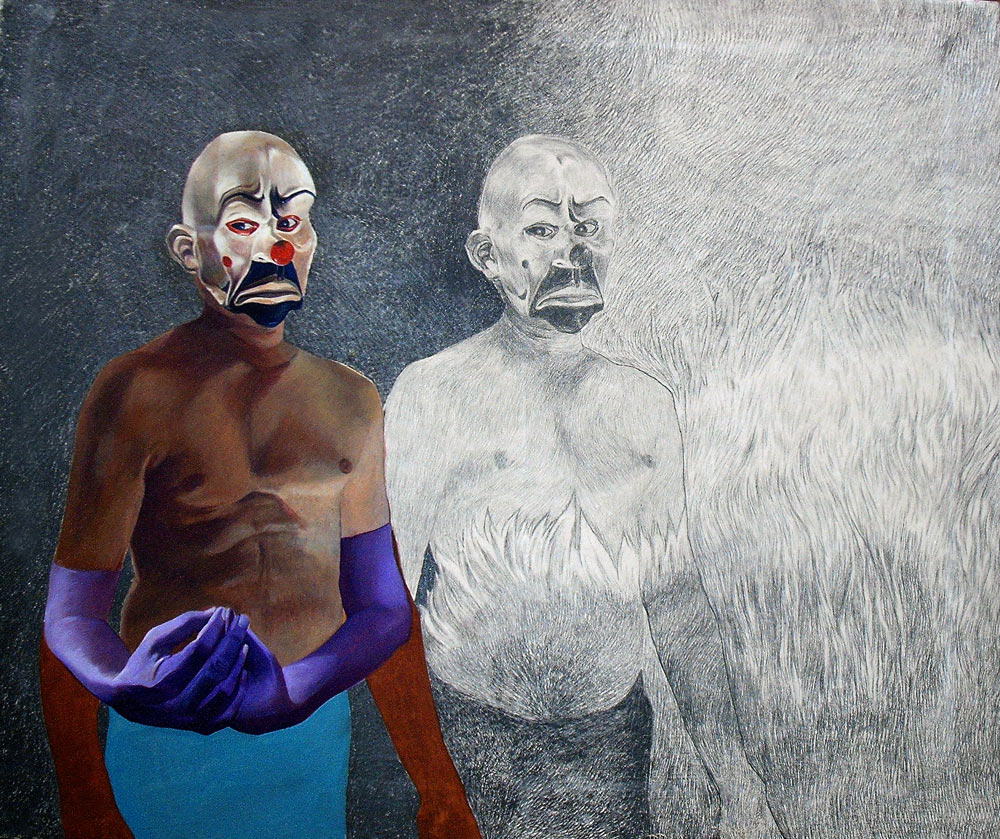Clowns with Flower I by Naseer Burghi. Image Courtesy ArtChowk Gallery