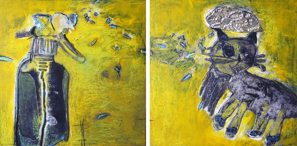 Pin the tail, or kill the cat (diptych), by Rabeya Jalil. Image courtesy ArtChowk Gallery