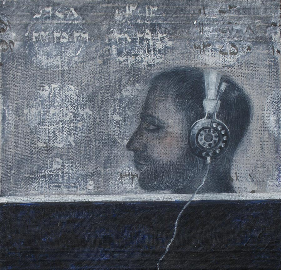Listening What by Usman Ghouri. Image Courtesy ArtChowk Gallery.
