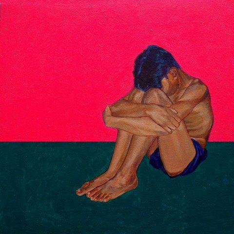 Man sitting on floor by Naseer Burghi. Image Courtesy ArtChowk Gallery.