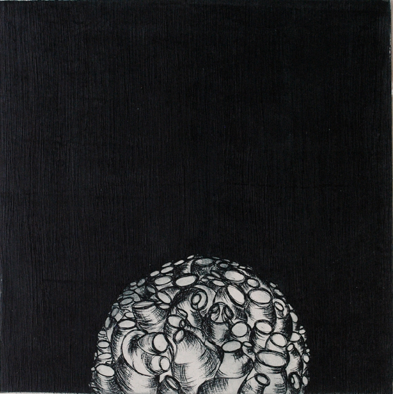 The blind roots curve and coil white in the sunless earth by Laila Rahman, Image Courtesy ArtChowk Gallery.