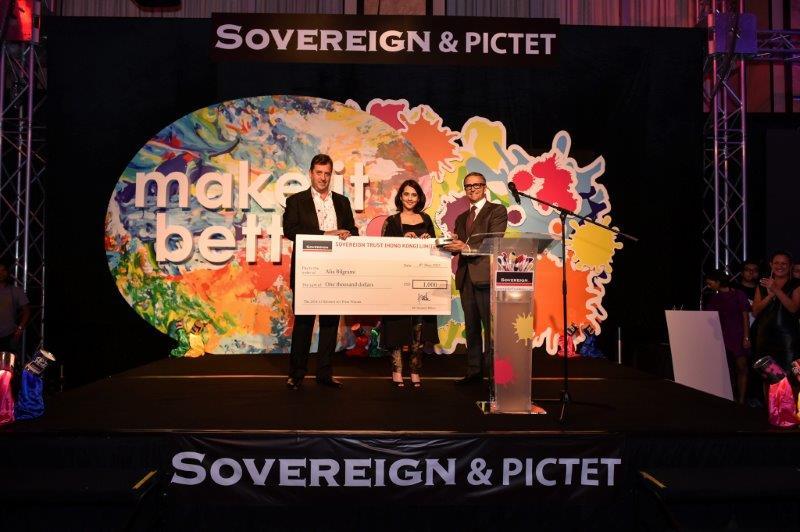 Alia receiving the Sovereign Asian Art prize.