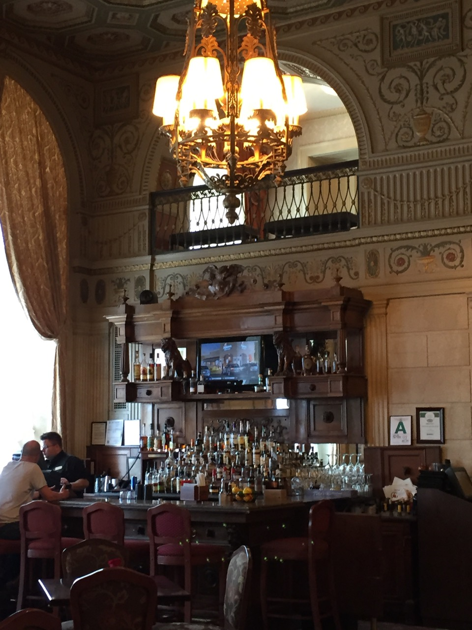 The lobby bar in the historical Brown Hotel.