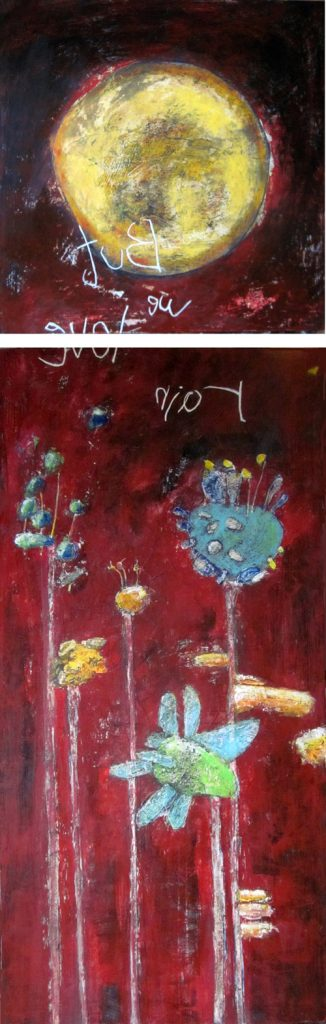 But we love rain - Diptych, by Rabeya Jalil. Image courtesy of ArtChowk Gallery